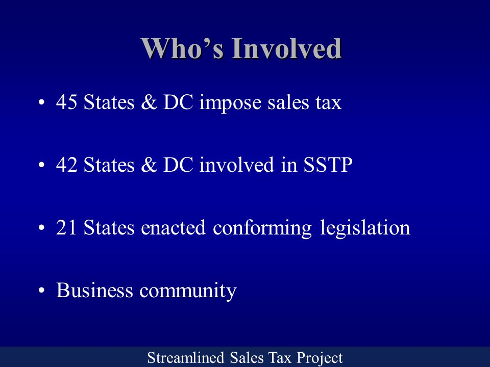 Streamlined Sales Tax Project Who's Involved 45 States & DC impose sales tax 42 States & DC involved in SSTP 21 States enacted conforming legislation Business community