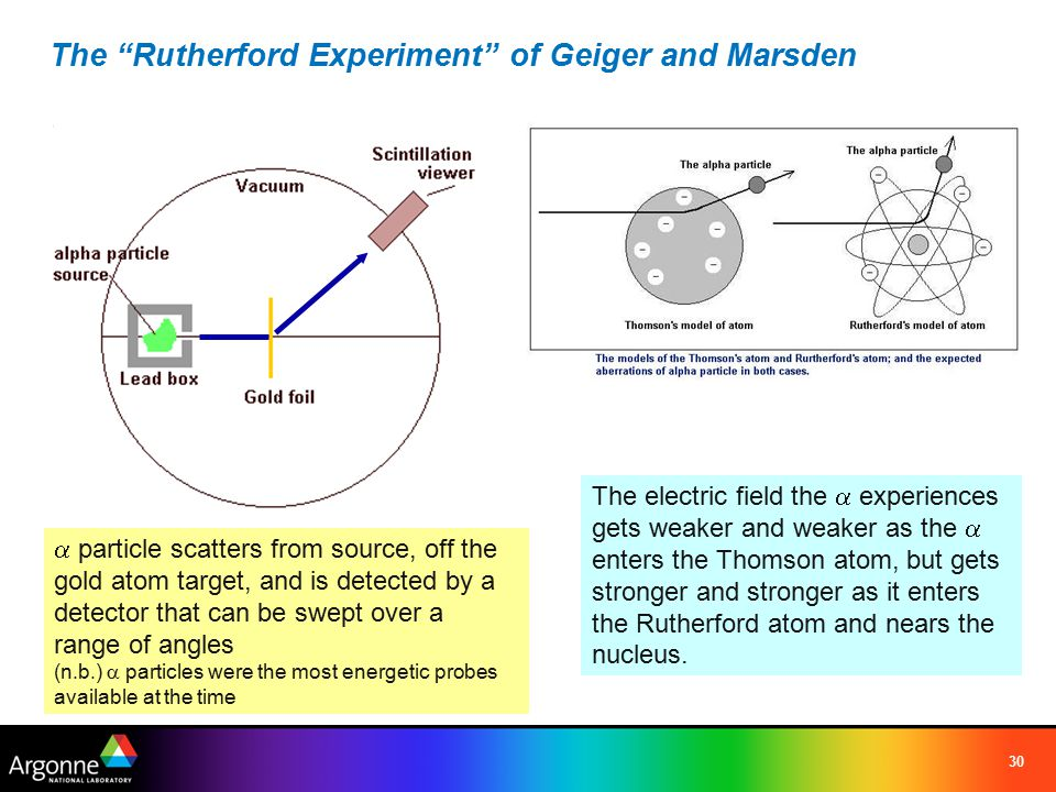 30 The Rutherford Experiment of Geiger and Marsden  particle scatters from source, off the gold atom target, and is detected by a detector that can be swept over a range of angles (n.b.)  particles were the most energetic probes available at the time The electric field the  experiences gets weaker and weaker as the  enters the Thomson atom, but gets stronger and stronger as it enters the Rutherford atom and nears the nucleus.