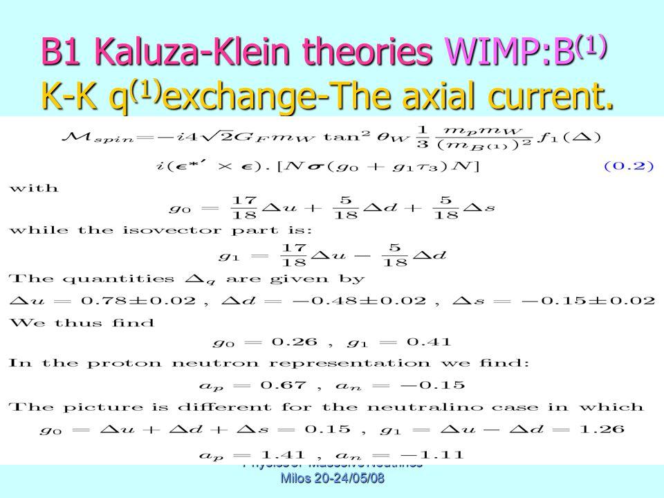 Physics of Masssive Neutrinos Milos 20-24/05/08 B1 Kaluza-Klein theories WIMP:B (1) K-K q (1) exchange-The axial current.