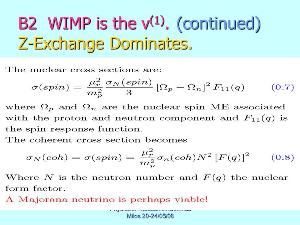 Physics of Masssive Neutrinos Milos 20-24/05/08 B2 WIMP is the ν (1). (continued) Ζ-Exchange Dominates.