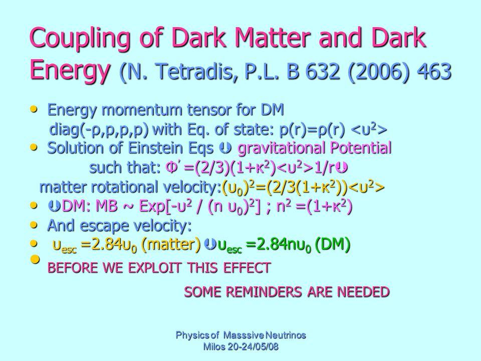 Physics of Masssive Neutrinos Milos 20-24/05/08 Coupling of Dark Matter and Dark Energy (N. Tetradis, P.L. B 632 (2006) 463 Energy momentum tensor for