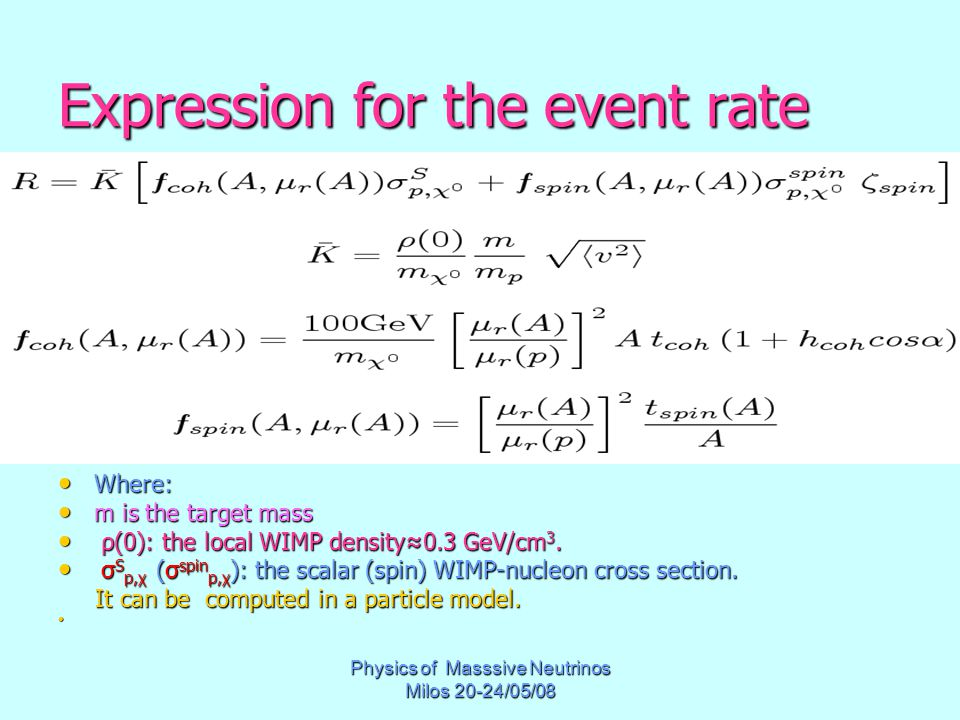 Physics of Masssive Neutrinos Milos 20-24/05/08 Expression for the event rate Where: Where: m is the target mass m is the target mass ρ(0): the local WIMP density≈0.3 GeV/cm 3.