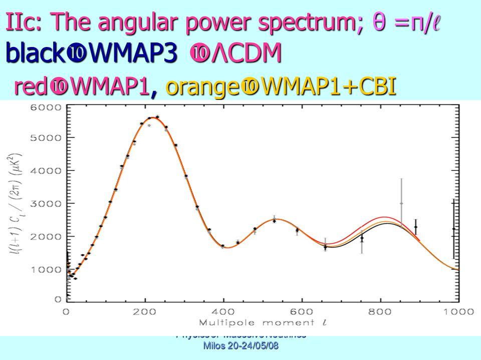 Physics of Masssive Neutrinos Milos 20-24/05/08 IIc: The angular power spectrum; θ =π/ ℓ black  WMAP3  ΛCDM red  WMAP1, orange  WMAP1+CBI
