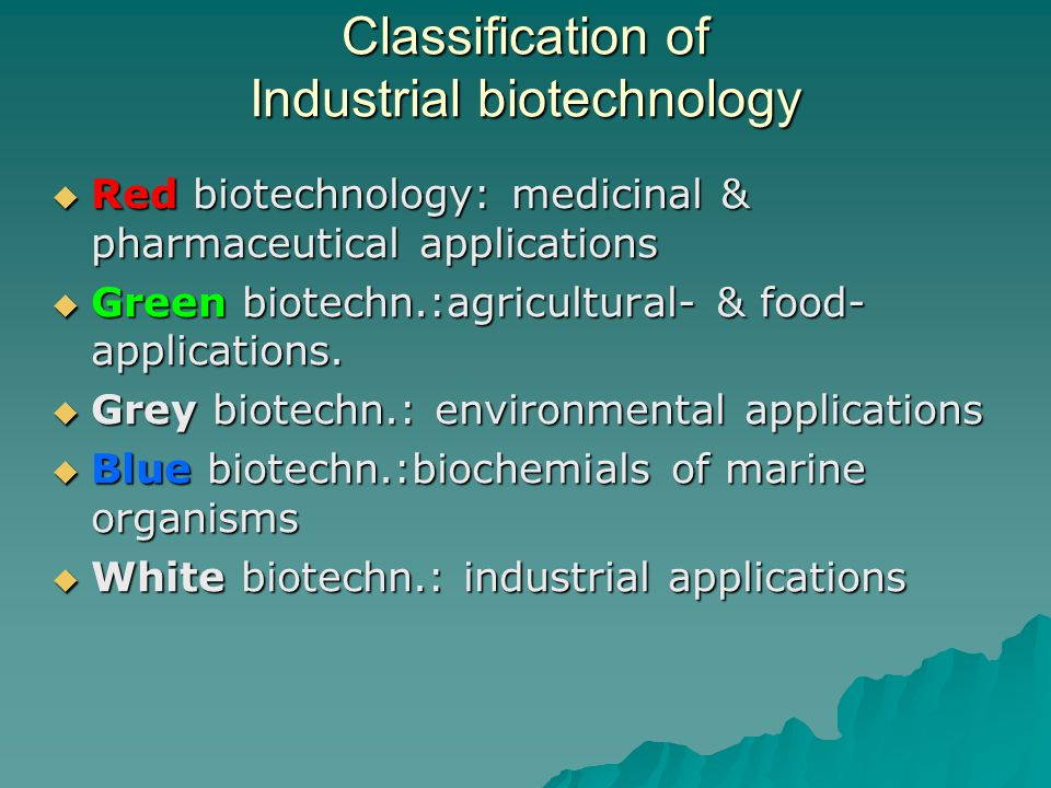 Classification of Industrial biotechnology  Red biotechnology: medicinal & pharmaceutical applications  Green biotechn.:agricultural- & food- applications.