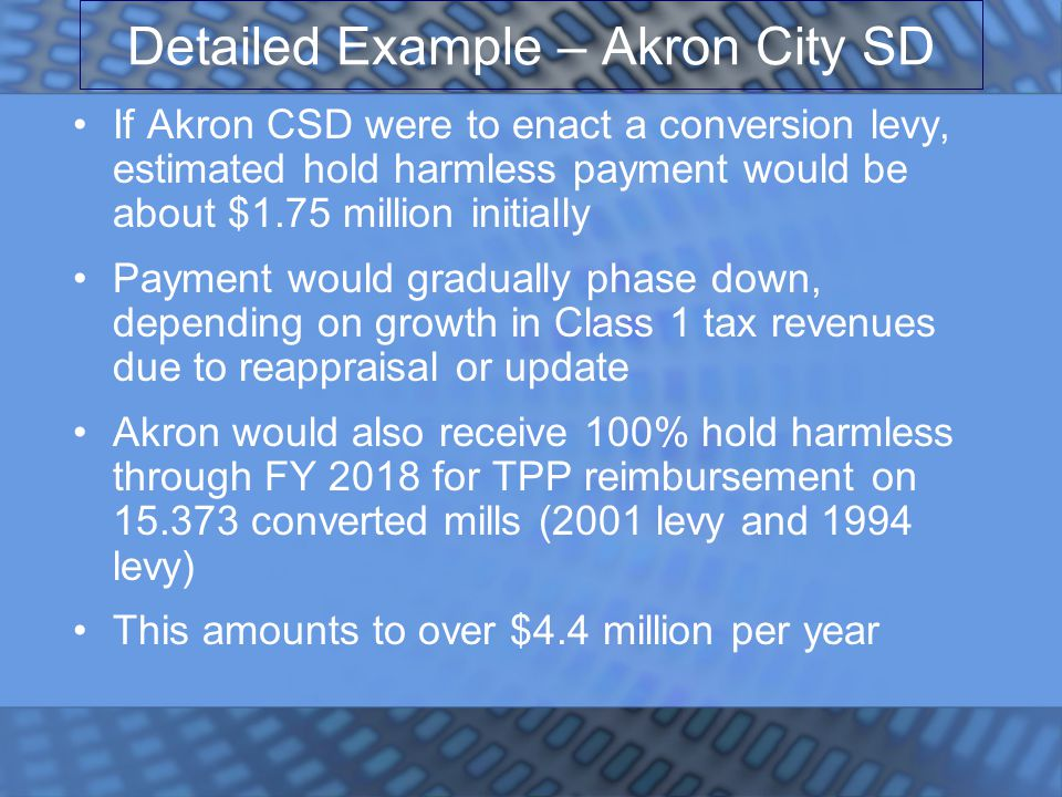 Detailed Example – Akron City SD If Akron CSD were to enact a conversion levy, estimated hold harmless payment would be about $1.75 million initially Payment would gradually phase down, depending on growth in Class 1 tax revenues due to reappraisal or update Akron would also receive 100% hold harmless through FY 2018 for TPP reimbursement on 15.373 converted mills (2001 levy and 1994 levy) This amounts to over $4.4 million per year