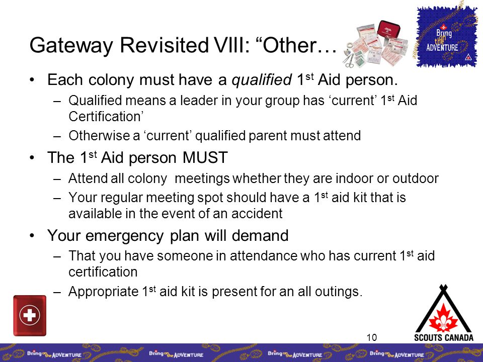 10 Gateway Revisited VllI: Other… Each colony must have a qualified 1 st Aid person.