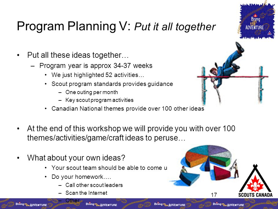 17 Program Planning V: Put it all together Put all these ideas together… –Program year is approx 34-37 weeks We just highlighted 52 activities… Scout program standards provides guidance –One outing per month –Key scout program activities Canadian National themes provide over 100 other ideas At the end of this workshop we will provide you with over 100 themes/activities/game/craft ideas to peruse… What about your own ideas.