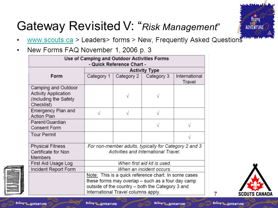 "7 www.scouts.ca > Leaders> forms > New, Frequently Asked Questionswww.scouts.ca New Forms FAQ November 1, 2006 p. 3 Gateway Revisited V: "" Risk Manage"