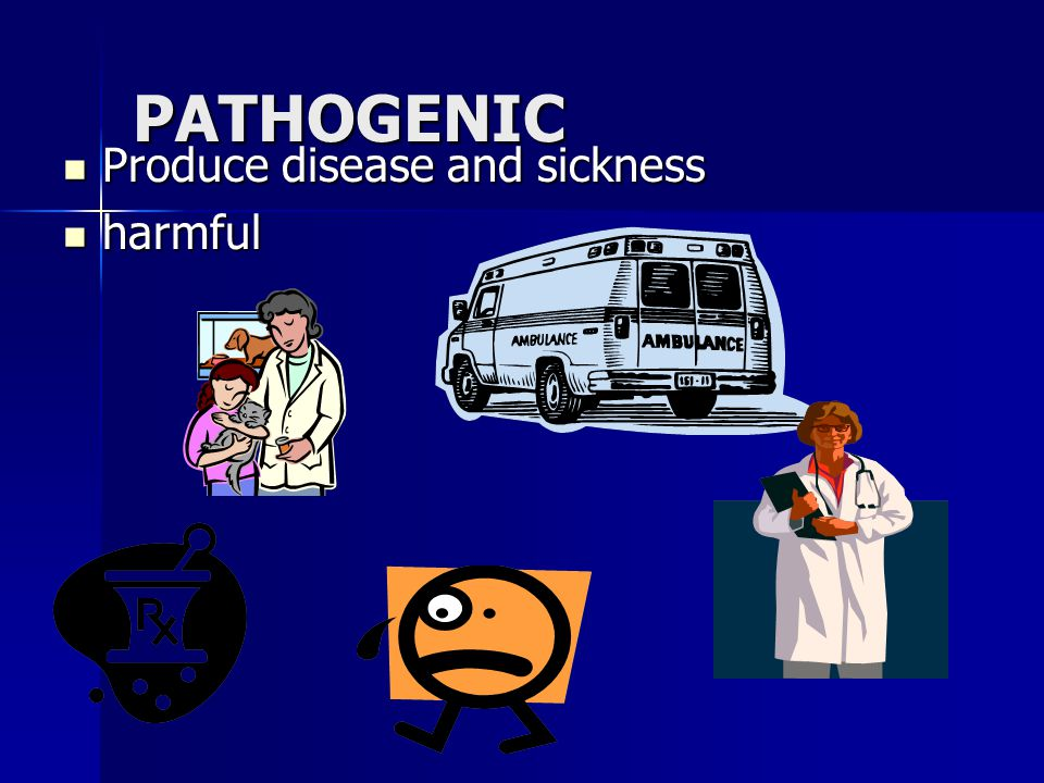 PATHOGENIC Produce disease and sickness Produce disease and sickness harmful harmful