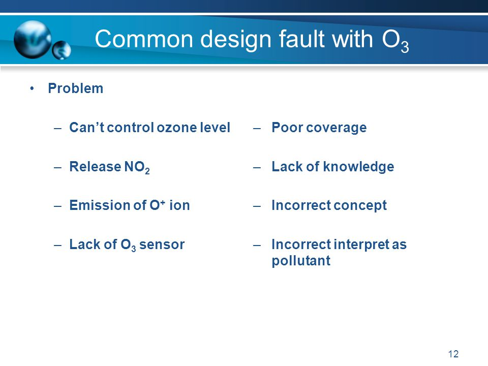 12 Common design fault with O 3 Problem –Can't control ozone level –Release NO 2 –Emission of O + ion –Lack of O 3 sensor –Poor coverage –Lack of knowledge –Incorrect concept –Incorrect interpret as pollutant