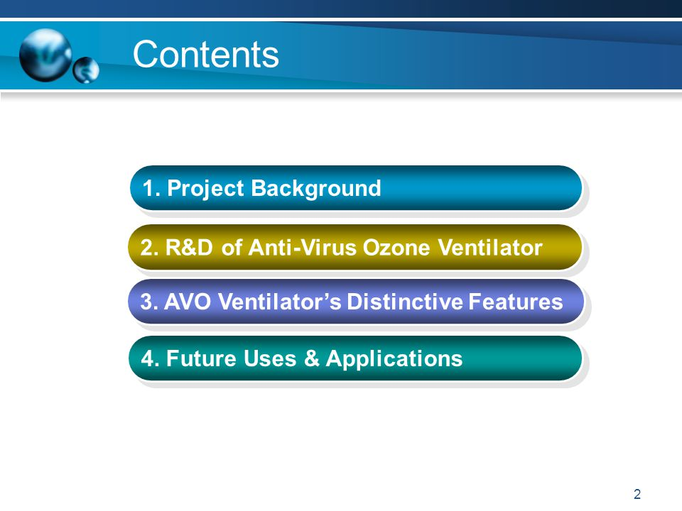 2 Contents 1. Project Background 2. R&D of Anti-Virus Ozone Ventilator 3. AVO Ventilator's Distinctive Features 4. Future Uses & Applications