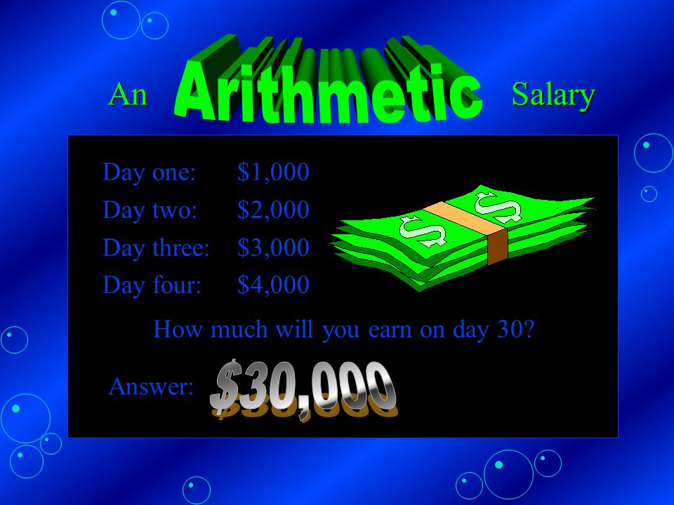 Like this What will be your total earnings for days 1 - 7.