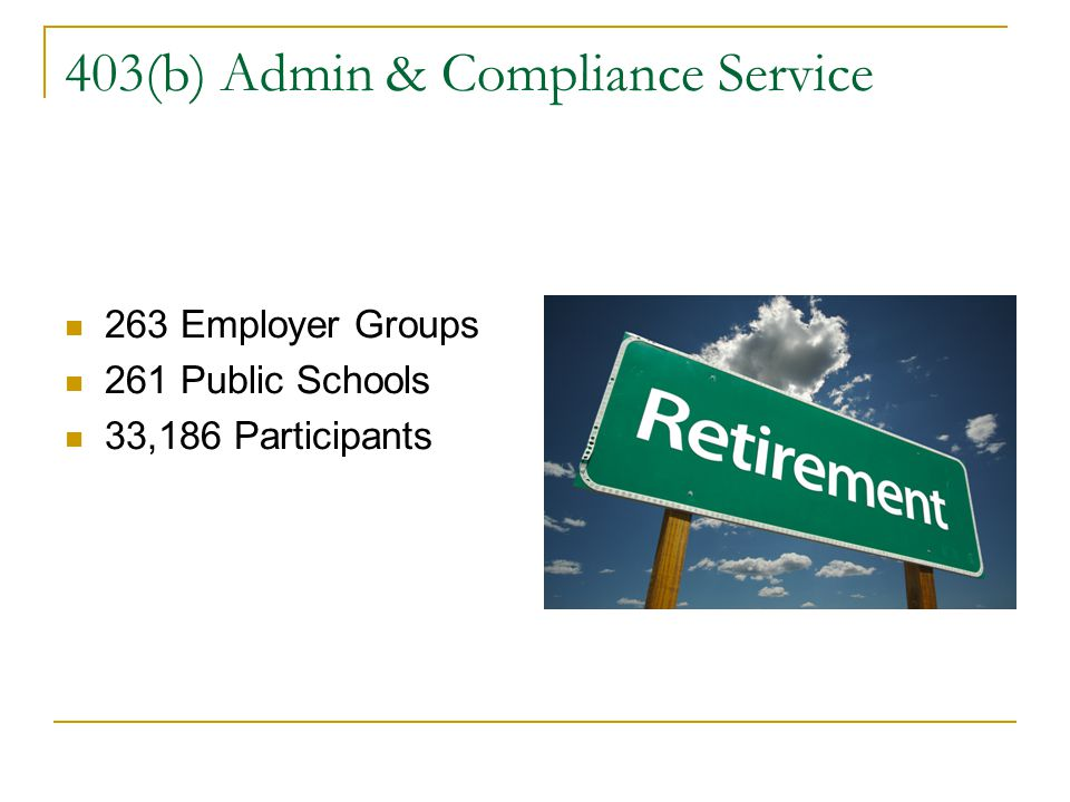 403(b) Admin & Compliance Service 263 Employer Groups 261 Public Schools 33,186 Participants