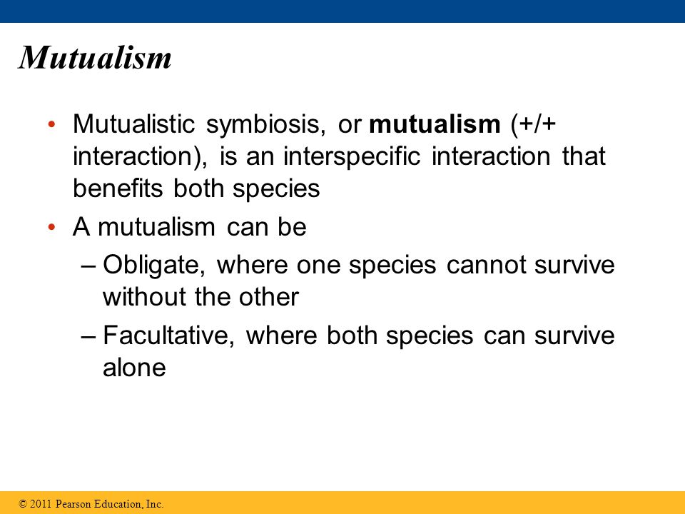 Mutualism Mutualistic symbiosis, or mutualism (+/+ interaction), is an interspecific interaction that benefits both species A mutualism can be –Obligate, where one species cannot survive without the other –Facultative, where both species can survive alone © 2011 Pearson Education, Inc.