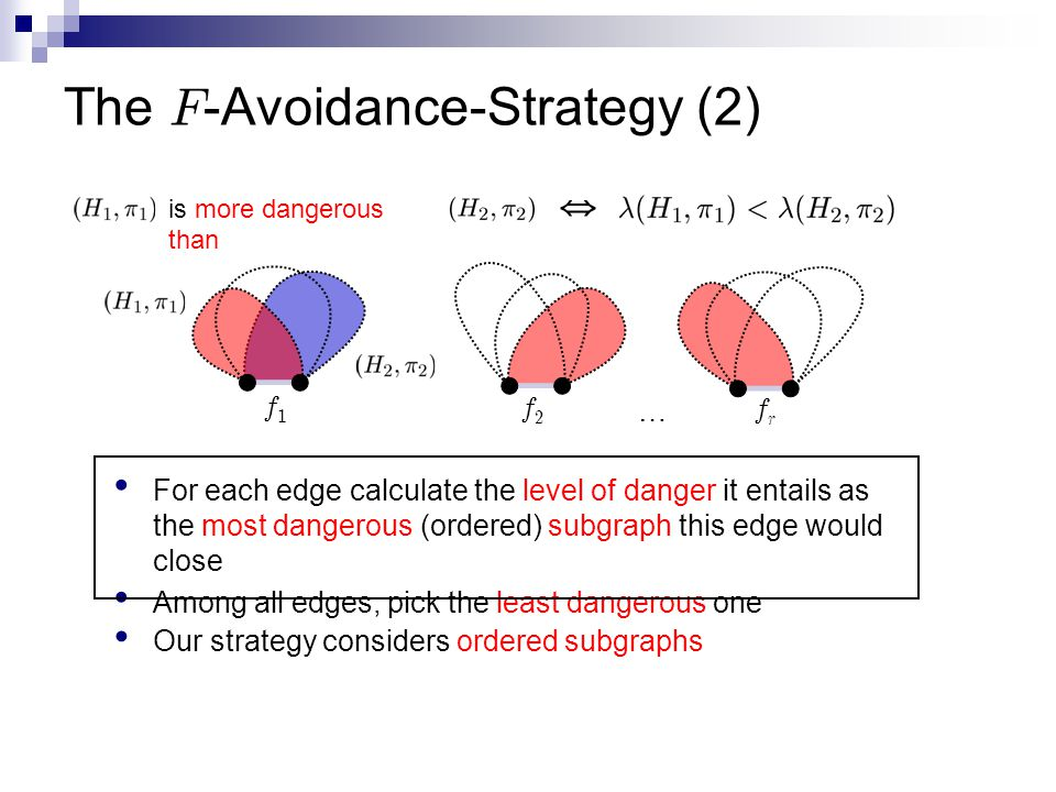 The F -Avoidance-Strategy (2) For each edge calculate the level of danger it entails as the most dangerous (ordered) subgraph this edge would close Among all edges, pick the least dangerous one f1f1 f2f2 frfr … is more dangerous than 5 Our strategy considers ordered subgraphs