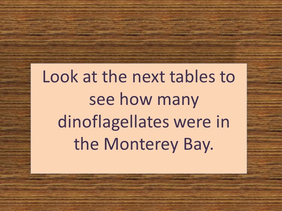 Look at the next tables to see how many dinoflagellates were in the Monterey Bay.