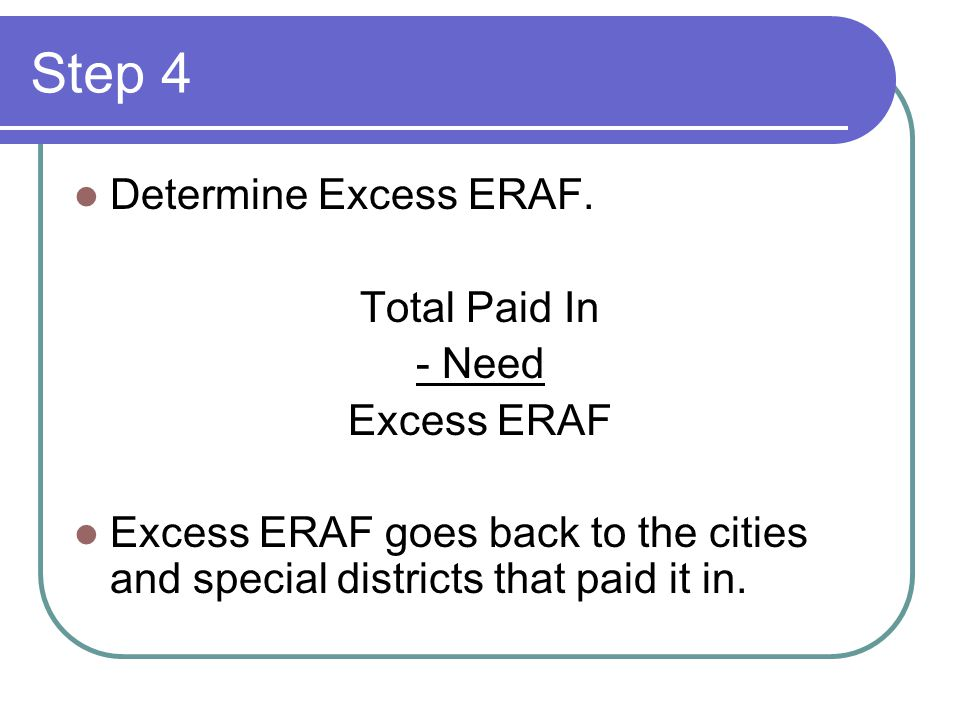 Step 4 Determine Excess ERAF. Total Paid In - Need Excess ERAF Excess ERAF goes back to the cities and special districts that paid it in.