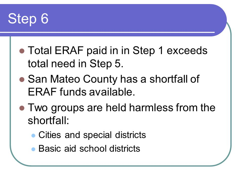 Step 6 Total ERAF paid in in Step 1 exceeds total need in Step 5.