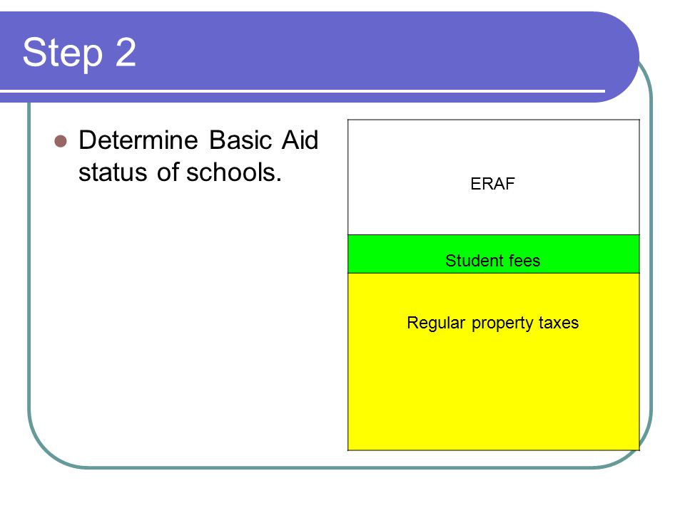 Step 2 Determine Basic Aid status of schools. ERAF Student fees Regular property taxes