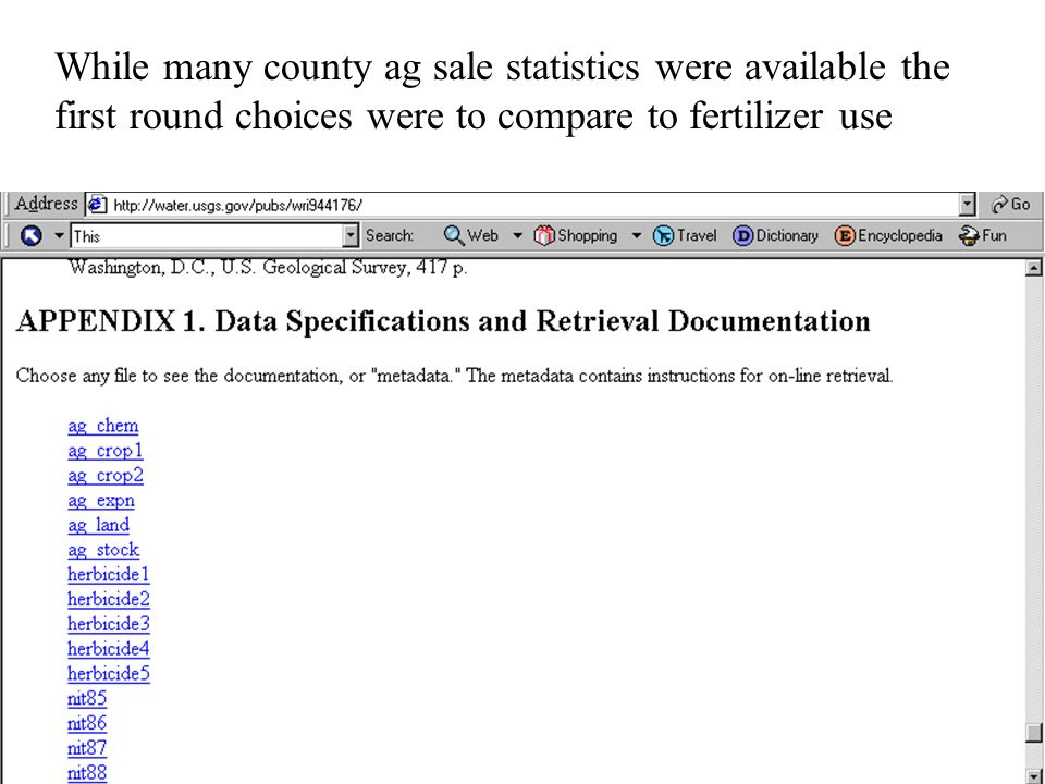 While many county ag sale statistics were available the first round choices were to compare to fertilizer use