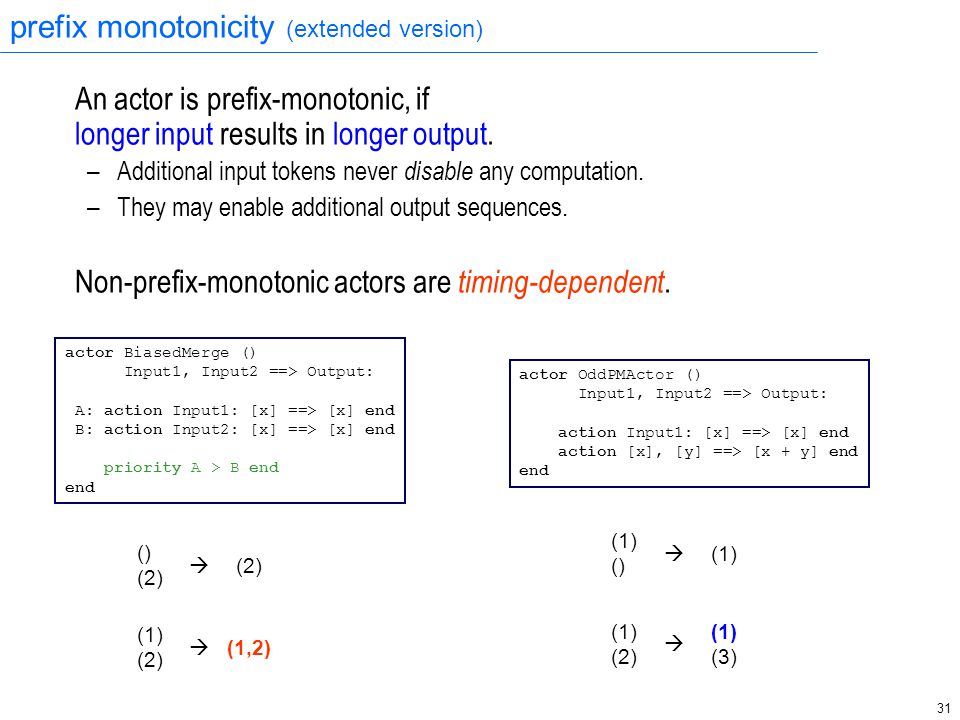 31 prefix monotonicity (extended version) An actor is prefix-monotonic, if longer input results in longer output. – Additional input tokens never disa