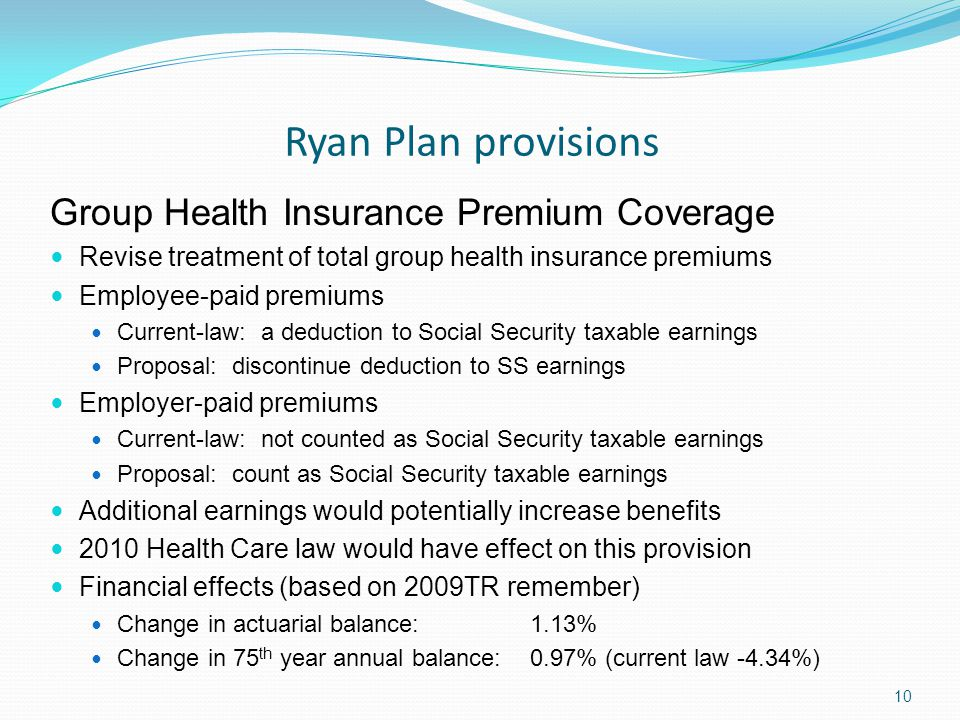 Ryan Plan provisions 10 Group Health Insurance Premium Coverage Revise treatment of total group health insurance premiums Employee-paid premiums Current-law: a deduction to Social Security taxable earnings Proposal: discontinue deduction to SS earnings Employer-paid premiums Current-law: not counted as Social Security taxable earnings Proposal: count as Social Security taxable earnings Additional earnings would potentially increase benefits 2010 Health Care law would have effect on this provision Financial effects (based on 2009TR remember) Change in actuarial balance: 1.13% Change in 75 th year annual balance: 0.97% (current law -4.34%)