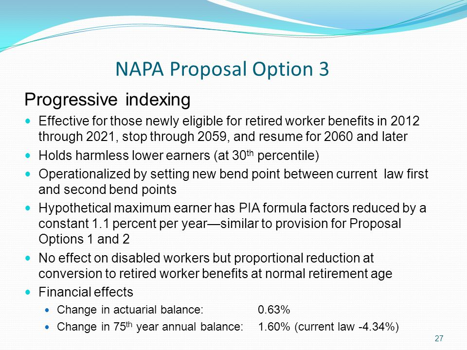 NAPA Proposal Option 3 27 Progressive indexing Effective for those newly eligible for retired worker benefits in 2012 through 2021, stop through 2059, and resume for 2060 and later Holds harmless lower earners (at 30 th percentile) Operationalized by setting new bend point between current law first and second bend points Hypothetical maximum earner has PIA formula factors reduced by a constant 1.1 percent per year—similar to provision for Proposal Options 1 and 2 No effect on disabled workers but proportional reduction at conversion to retired worker benefits at normal retirement age Financial effects Change in actuarial balance: 0.63% Change in 75 th year annual balance: 1.60% (current law -4.34%)