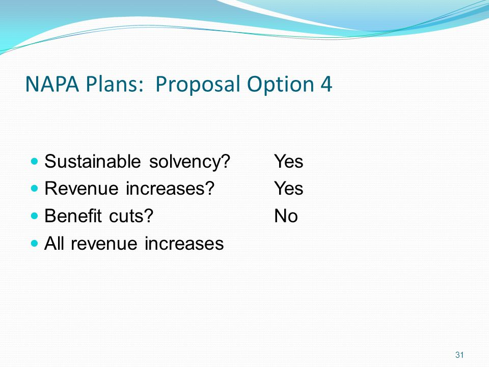 NAPA Plans: Proposal Option 4 Sustainable solvency.