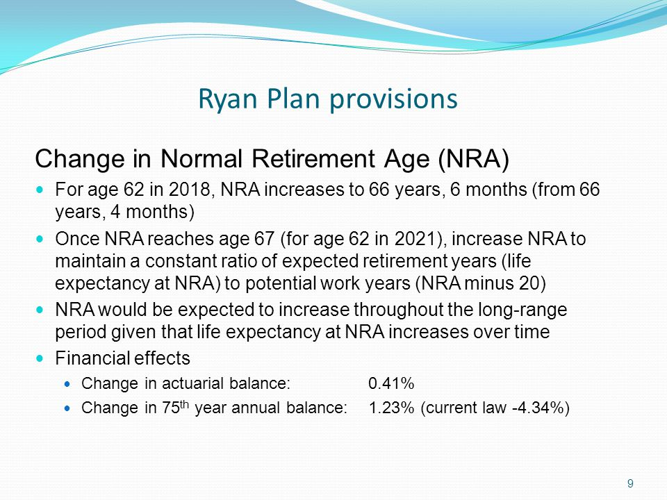 Ryan Plan provisions 9 Change in Normal Retirement Age (NRA) For age 62 in 2018, NRA increases to 66 years, 6 months (from 66 years, 4 months) Once NRA reaches age 67 (for age 62 in 2021), increase NRA to maintain a constant ratio of expected retirement years (life expectancy at NRA) to potential work years (NRA minus 20) NRA would be expected to increase throughout the long-range period given that life expectancy at NRA increases over time Financial effects Change in actuarial balance: 0.41% Change in 75 th year annual balance: 1.23% (current law -4.34%)