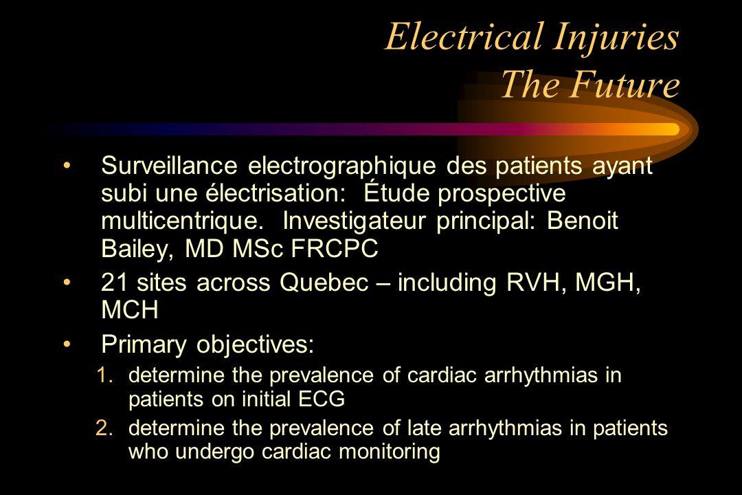 Electrical Injuries The Future Surveillance electrographique des patients ayant subi une électrisation: Étude prospective multicentrique.
