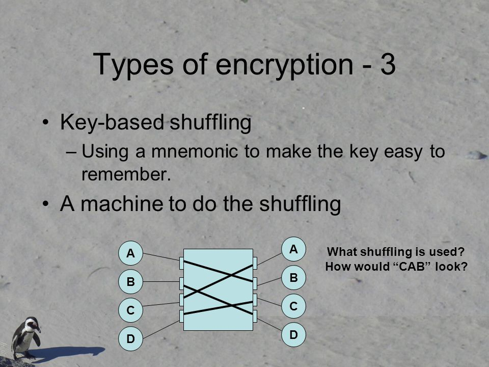 Types of encryption - 3 Key-based shuffling –Using a mnemonic to make the key easy to remember.