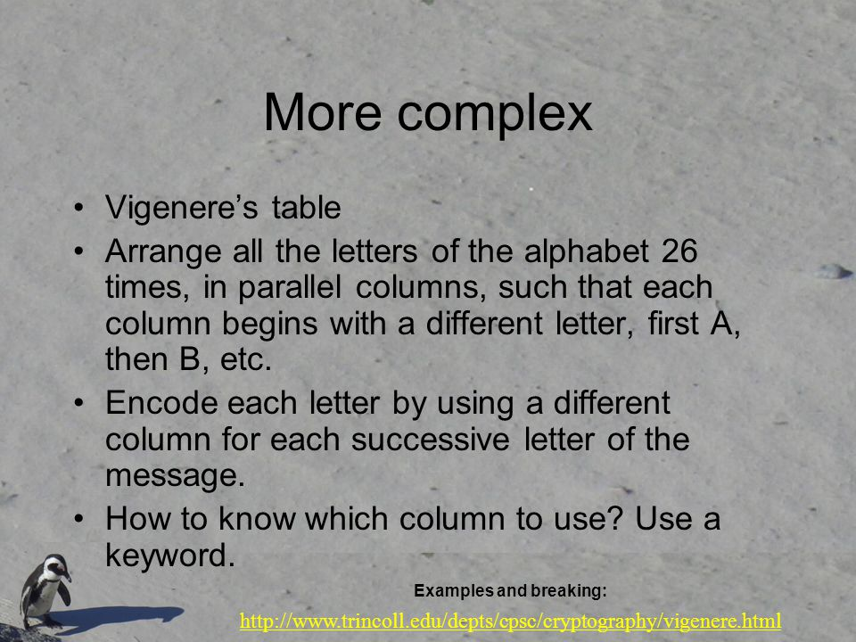 More complex Vigenere's table Arrange all the letters of the alphabet 26 times, in parallel columns, such that each column begins with a different let