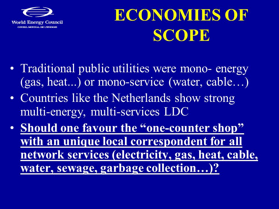 ECONOMIES OF SCOPE Traditional public utilities were mono- energy (gas, heat...) or mono-service (water, cable…) Countries like the Netherlands show strong multi-energy, multi-services LDC Should one favour the one-counter shop with an unique local correspondent for all network services (electricity, gas, heat, cable, water, sewage, garbage collection…)?