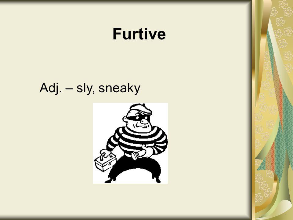 Furtive Adj. – sly, sneaky