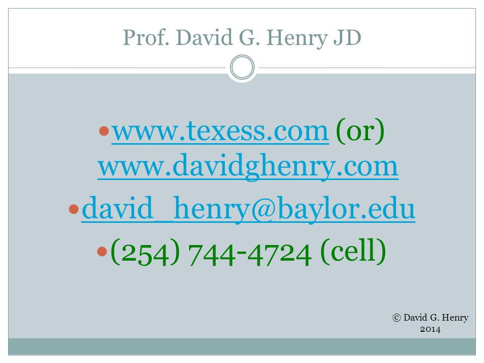 Prof. David G.