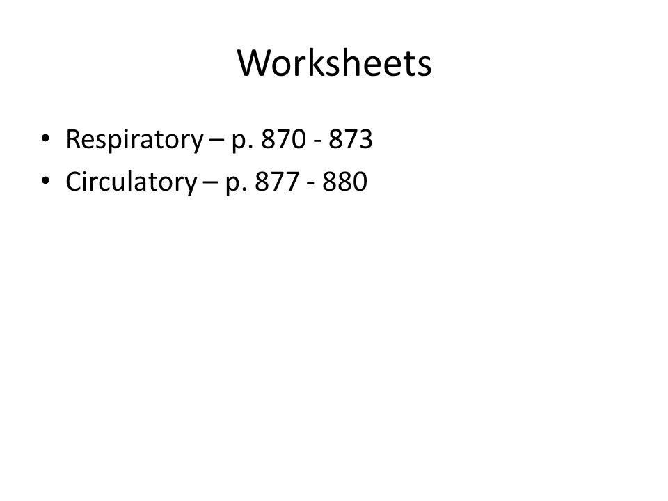 Worksheets Respiratory – p. 870 - 873 Circulatory – p. 877 - 880