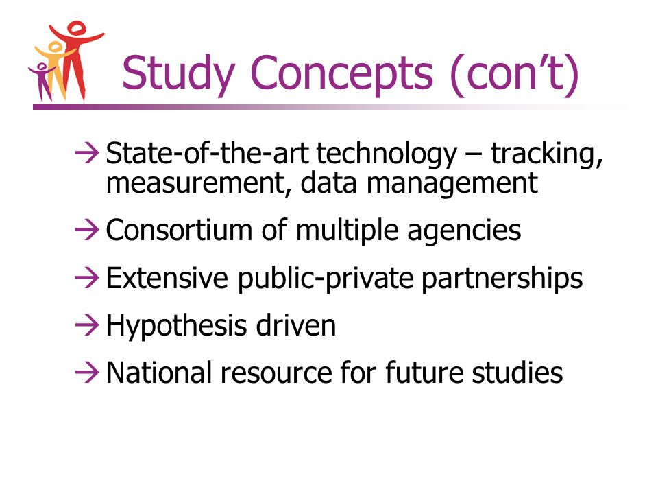 Study Concepts (con't) àState-of-the-art technology – tracking, measurement, data management àConsortium of multiple agencies àExtensive public-private partnerships àHypothesis driven àNational resource for future studies