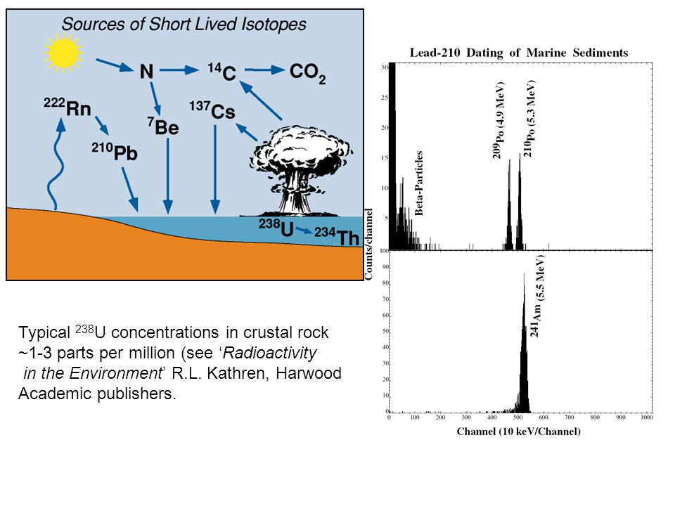 Typical 238 U concentrations in crustal rock ~1-3 parts per million (see 'Radioactivity in the Environment' R.L. Kathren, Harwood Academic publishers.