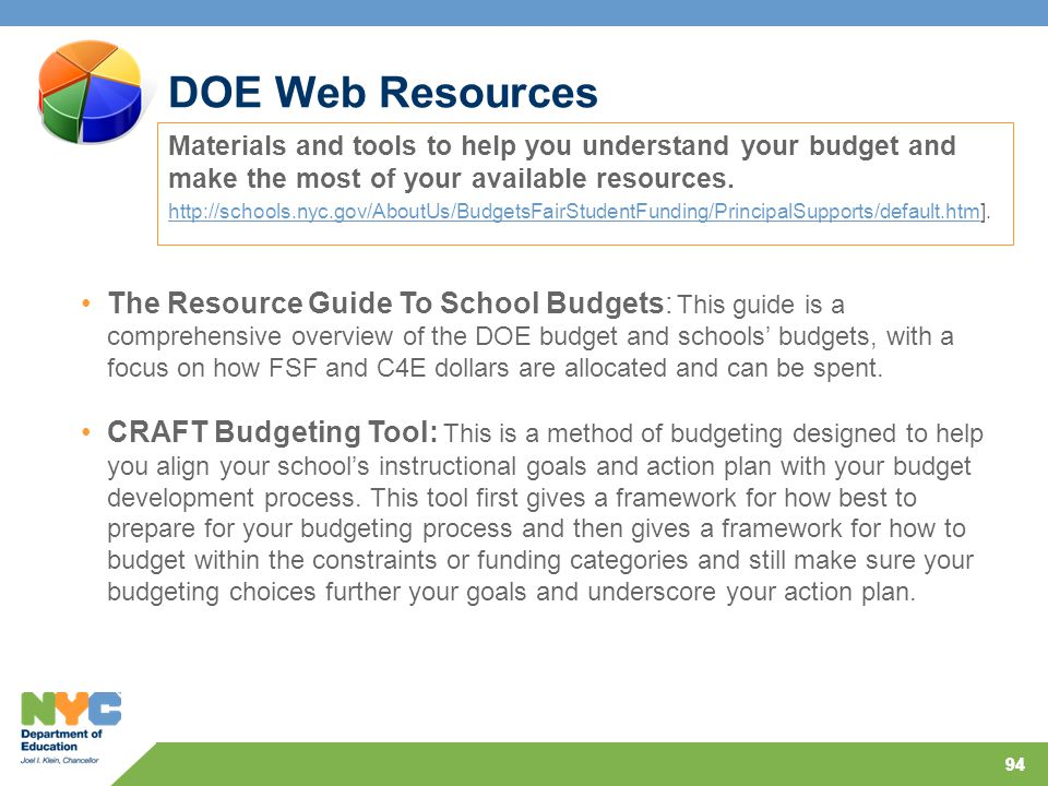 94 DOE Web Resources Materials and tools to help you understand your budget and make the most of your available resources.