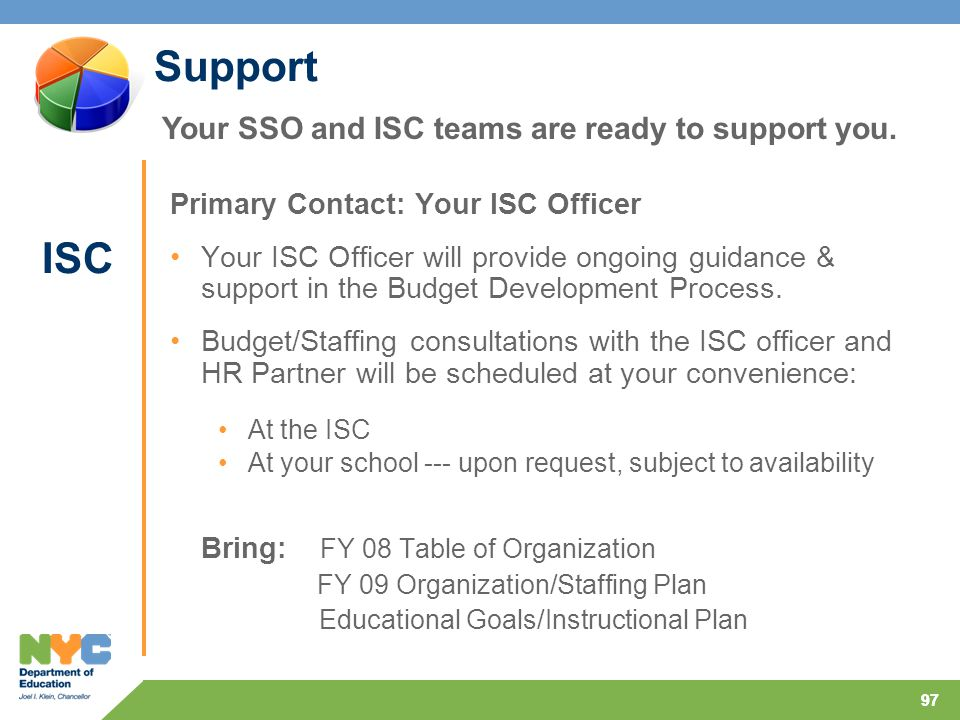 97 Support Primary Contact: Your ISC Officer Your ISC Officer will provide ongoing guidance & support in the Budget Development Process.