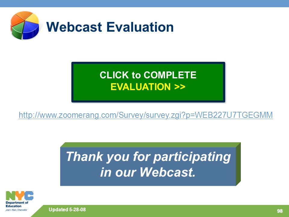 98 Webcast Evaluation Thank you for participating in our Webcast.