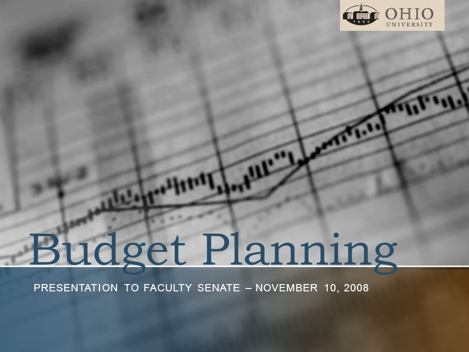 Budget Planning PRESENTATION TO FACULTY SENATE – NOVEMBER 10, 2008