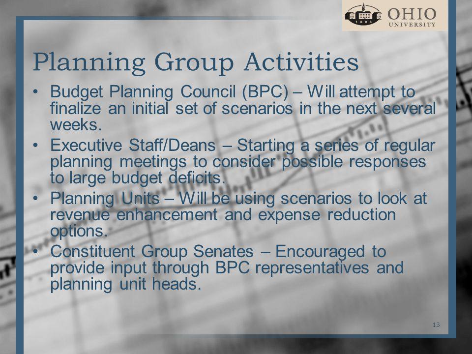 Planning Group Activities Budget Planning Council (BPC) – Will attempt to finalize an initial set of scenarios in the next several weeks.