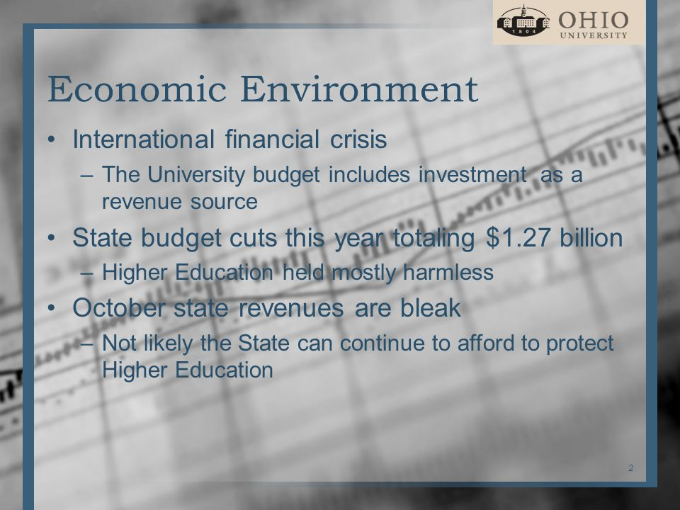 Economic Environment International financial crisis –The University budget includes investment as a revenue source State budget cuts this year totaling $1.27 billion –Higher Education held mostly harmless October state revenues are bleak –Not likely the State can continue to afford to protect Higher Education 2