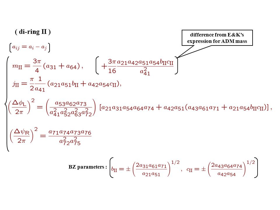 ( di-ring II ) BZ parameters : difference from E&K's expression for ADM mass