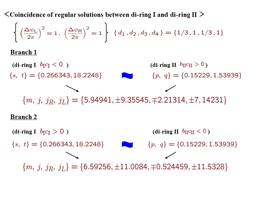 < Coincidence of regular solutions between di-ring I and di-ring II > (di-ring I )(di-ring II ) (di-ring I )(di-ring II ) Branch 1 Branch 2