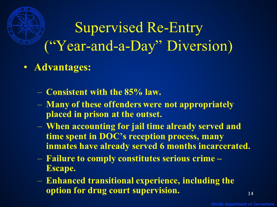 "14 Supervised Re-Entry (""Year-and-a-Day"" Diversion) Advantages: –Consistent with the 85% law. –Many of these offenders were not appropriately placed i"