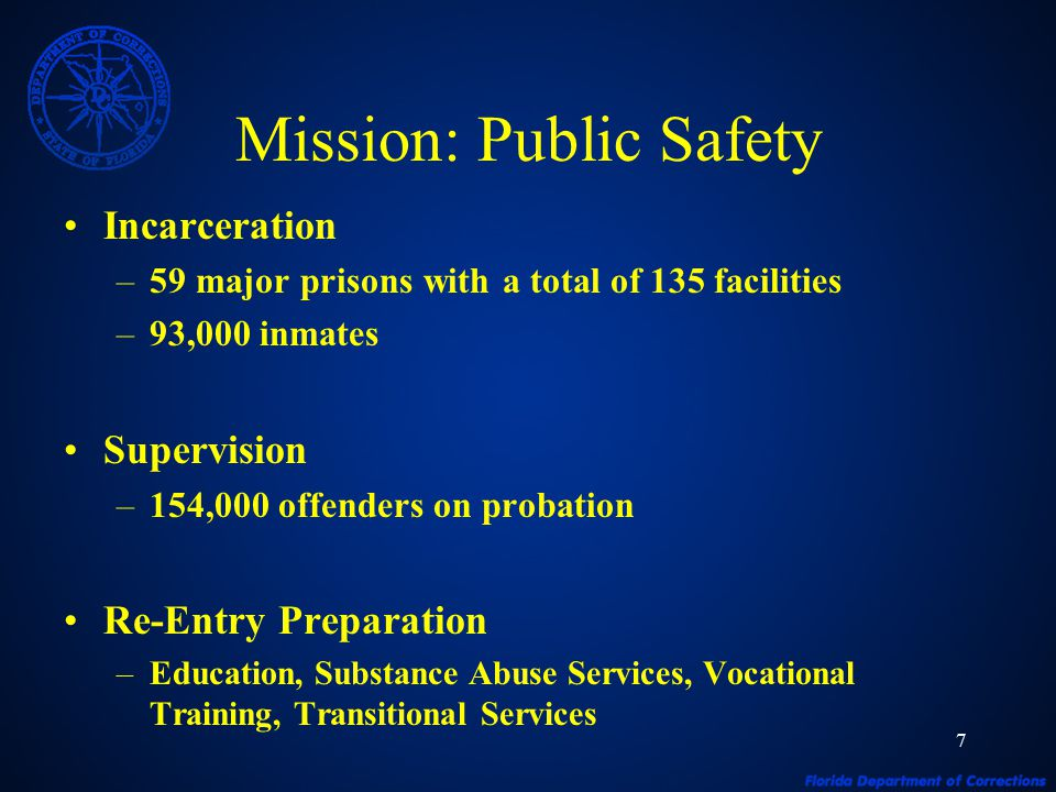 7 Mission: Public Safety Incarceration –59 major prisons with a total of 135 facilities –93,000 inmates Supervision –154,000 offenders on probation Re-Entry Preparation –Education, Substance Abuse Services, Vocational Training, Transitional Services