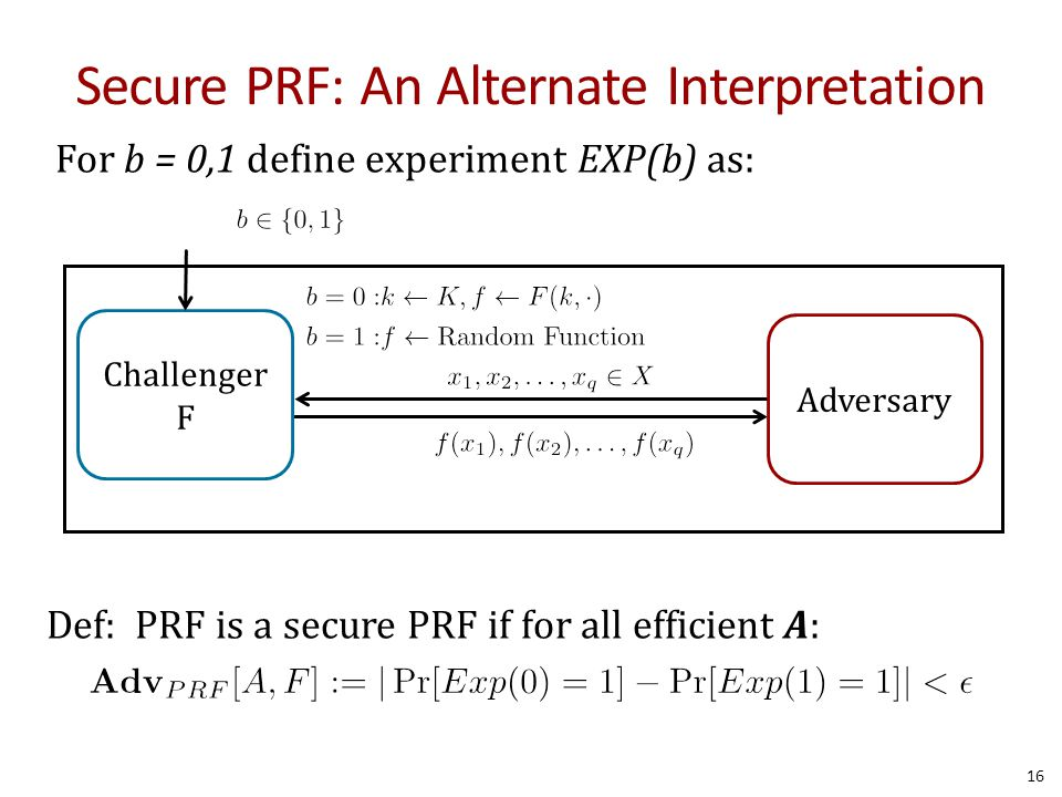 Secure PRF: An Alternate Interpretation 16 For b = 0,1 define experiment EXP(b) as: Def: PRF is a secure PRF if for all efficient A: Challenger F Adve