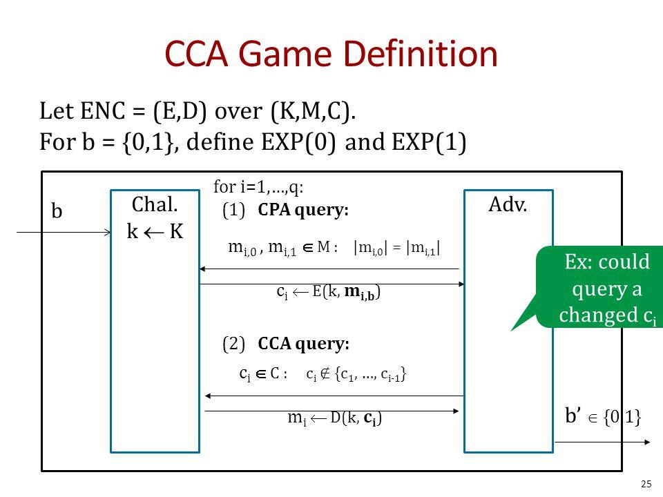 CCA Game Definition 25 Let ENC = (E,D) over (K,M,C).